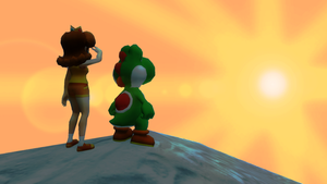 Yoshi Daisy and the sunset by ZeFrenchM