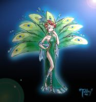 Peafowl Girl - colored by TwickyGirl