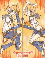 Kagamine Twins Bookmark by pearsfears