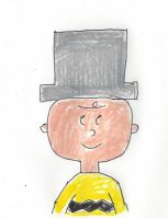 Charlie Brown wearing a silver top hat by dth1971