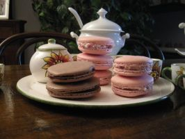 Choco n Strawberries Macarons by HerMajestyTheQueen