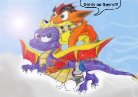 Crash rides Spyro by ASHnCRASH