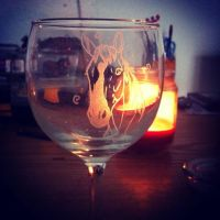 Commissioned wine glass by KonKataCreations