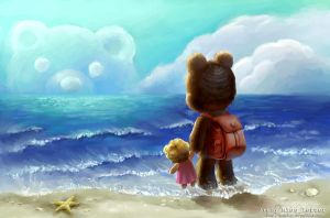 small bear and the sea by MsLetter