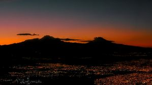 Mexican Volcanoes Sunrise by photo-tlacuilopilo