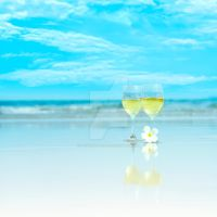 Two glasses of white wine by MotHaiBaPhoto