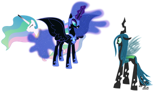 Nightmare Moon Battles Chrysalis by 90Sigma