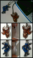 Eevee and Riolu Phone Charms by Blubble-The-Blubs