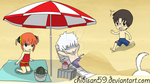Yorozuya at the beach by chibisan59
