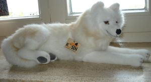 lying arctic wolf plushie, made by kosen by DreamyArcticWolf