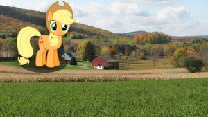 Giant Applejack at a farm by Mcayon