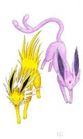Jolteon and Espeon by Xhisteriah
