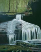 Waterfall acrylic painting by Rollingboxes
