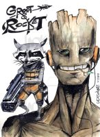 Groot n Rocket, awesome mates of adventures by UNDISCOVER-art