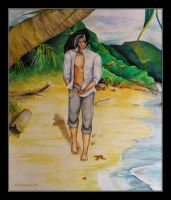 Watercolor - A Walk On the Beach by barananduen