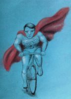 Superman on a bicycle by Asgren