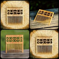 Swastika hair comb by pagan-art