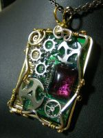 Wire wrapped Circuit board with purple glass by BacktoEarthCreations