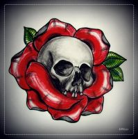 SKULL IN ROSE tattoo flash by oldSkullLovebyMW
