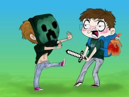 Creeper Gavin Attacks Michael by NobodyCares-1