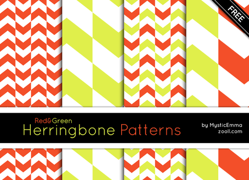 Red And Green Herringbone Patterns by MysticEmma