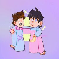 Moonie and Enty's matching pastel sweaters by KabouterPollewop