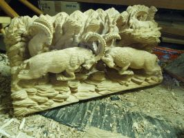 Alpine Ibex in progress 16 by woodcarve