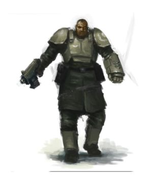 51st Cadian, Officer with Power Fist by MasterAlighieri