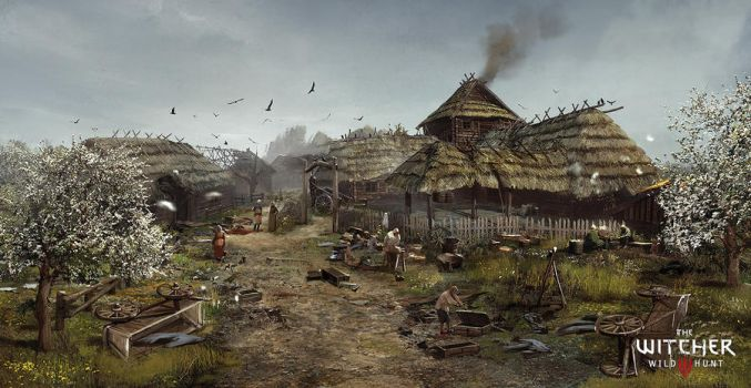 The Witcher 3: Wild Hunt - Village Concept Art by Marmad