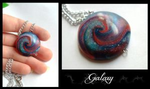 Galaxy - polymer clay pendant by EruwaedhielElleth