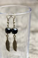 Antique Black Onyx Feather Dangle Earrings by Clerdy