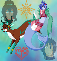 Courageous Cervine and Loving Peafowl by Setsuna-Yena