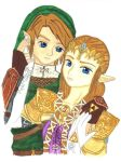 Link and Zelda by akuriko
