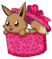 Eevee in box colored by Kat-Skittychu