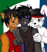 Buddies in Three by Stripes-the-Raccoon