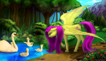 Collaboration: The Swan Pond by MykeGreywolf