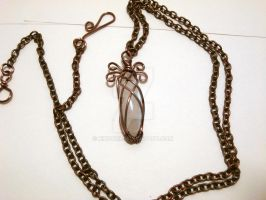Wire Wrapped Moonstone Pendant by Kindori