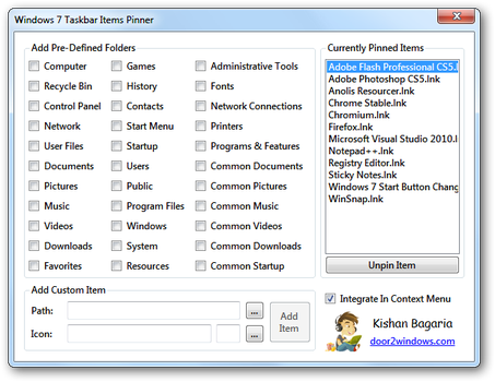 Windows 7 Taskbar Items Pinner by Kishan-Bagaria
