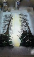 Little stump Nature Spray Painting by JayLatour