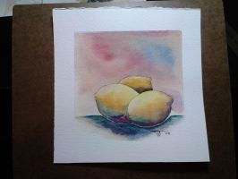 2014 3 Lemons Watercolor by DasMoo