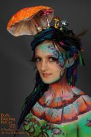 Toadstool Fairy body painting demo Alice fey by Bodypaintingbycatdot