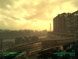 Fallout 3 - DC skyline morning by Half-dude