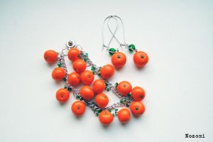 Mandarin bracelet and earrings by Nozomi21