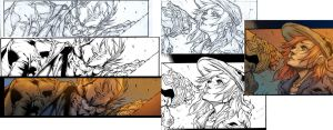 Filler pencil, ink, and color progression by Inker-guy