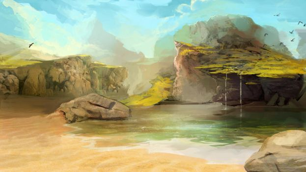 Digital painting landscape by Elsouille