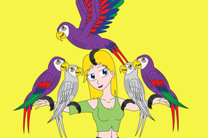 Selena and the Parrots by Daizua123