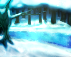 Winter Forest lake by afiniwind