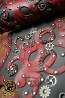 Bracer cuir homme pieuvre steampunk rouge 2 by Damiane