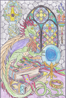 Dragon in the Library by IceFireEternal