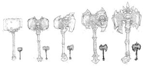 Darksiders II weapon concepts Hammers 2 by DawidFrederik